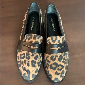 Via Spiga Leopard Print Loafers